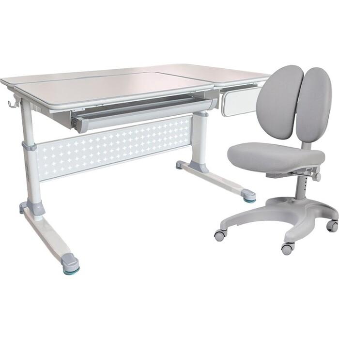 Комплект FunDesk Парта Brunia grey + кресло Solerte