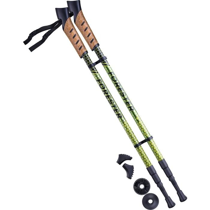 Палки для скандинавской ходьбы BERGER Forester, 67-135 см, 3-секционные, болотный/жёлтый