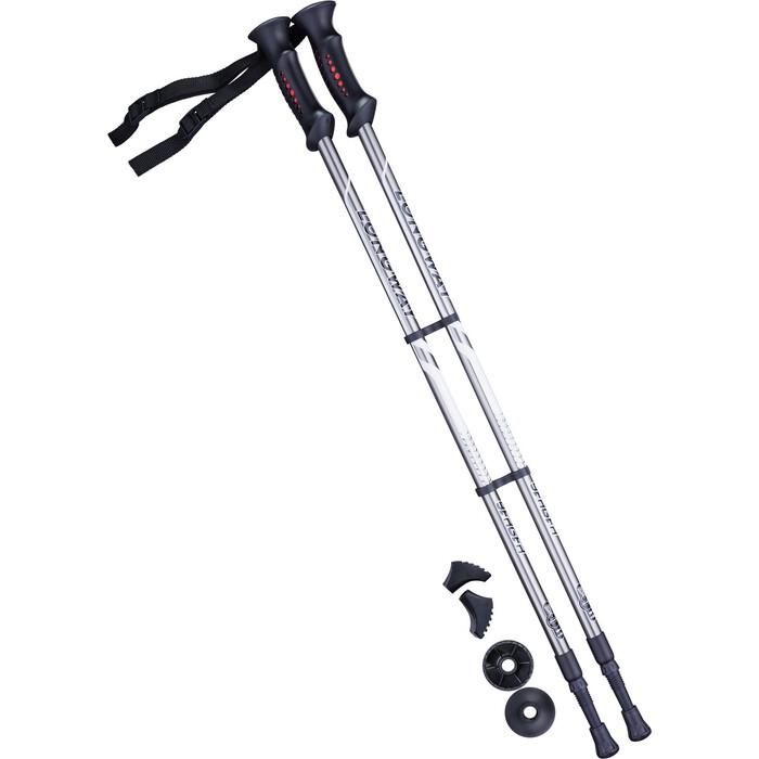 Палки для скандинавской ходьбы BERGER Longway, 77-135 см, 2-секционные, серый/чёрный