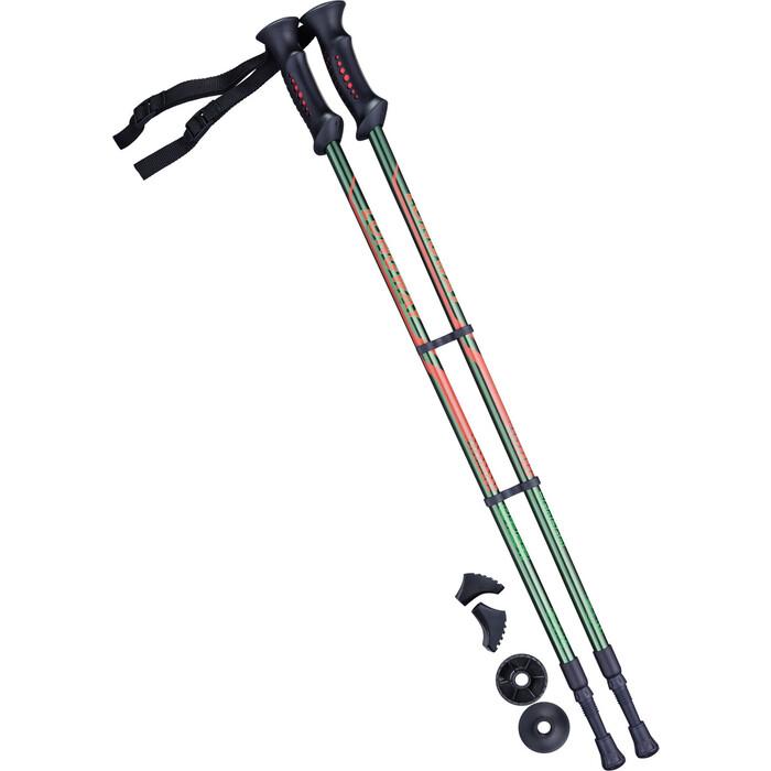 Палки для скандинавской ходьбы BERGER Longway, 77-135 см, 2-секционные, тёмно-зеленый/оранжевый