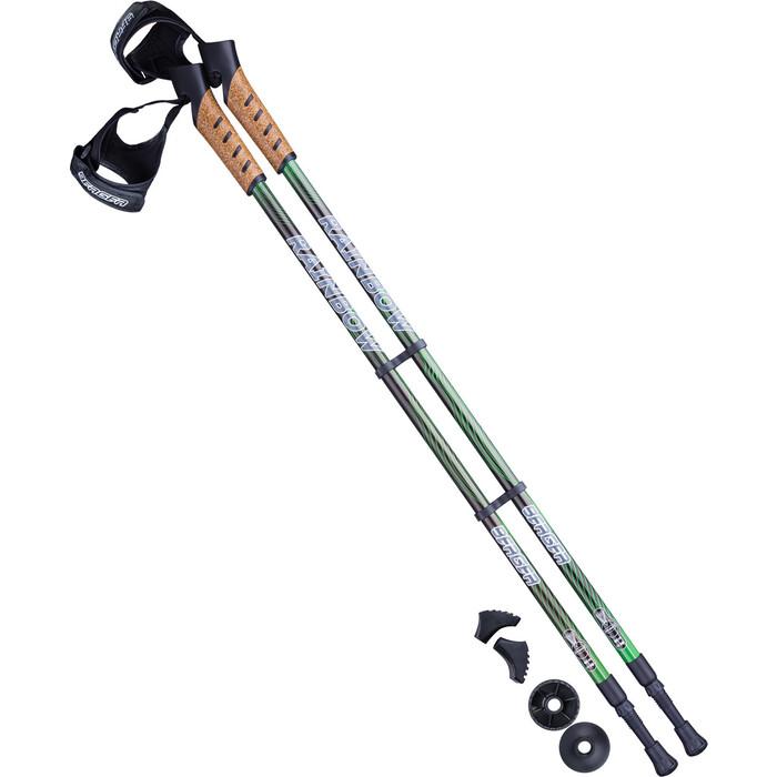 Палки для скандинавской ходьбы BERGER Rainbow, 77-135 см, 2-секционные, чёрный/ярко-зелёный