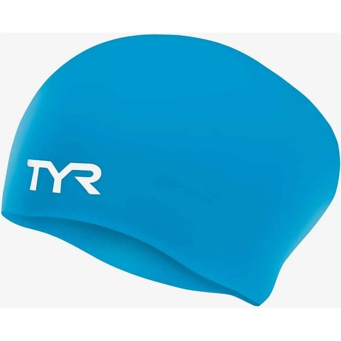 Шапочка для плавания TYR Long Hair Wrinkle-Free Silicone Cap, силикон, голубой (LCSL/420)