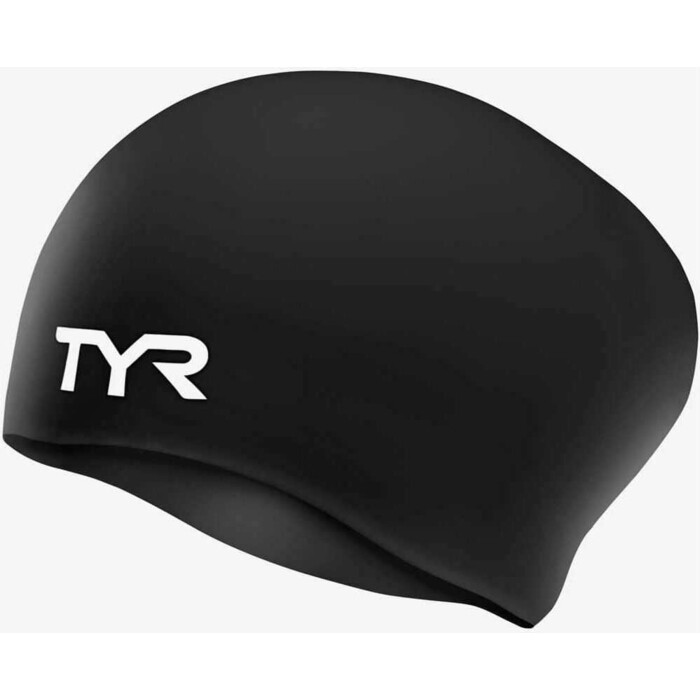 Шапочка для плавания TYR Long Hair Wrinkle-Free Silicone Cap, силикон, черный (LCSL/001)