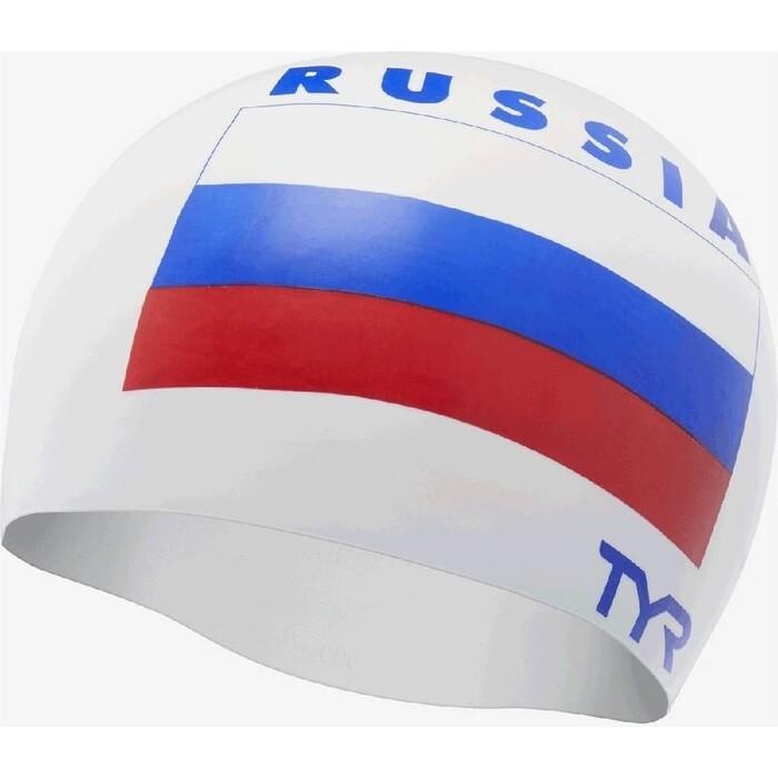 Шапочка для плавания TYR Russia Silicone Swim Cap, силикон, белый (LCSRUS/100)