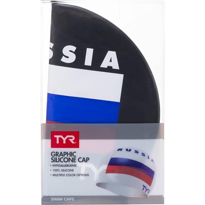 Шапочка для плавания TYR Russia Silicone Swim Cap, силикон, черный (LCSRUS/001)