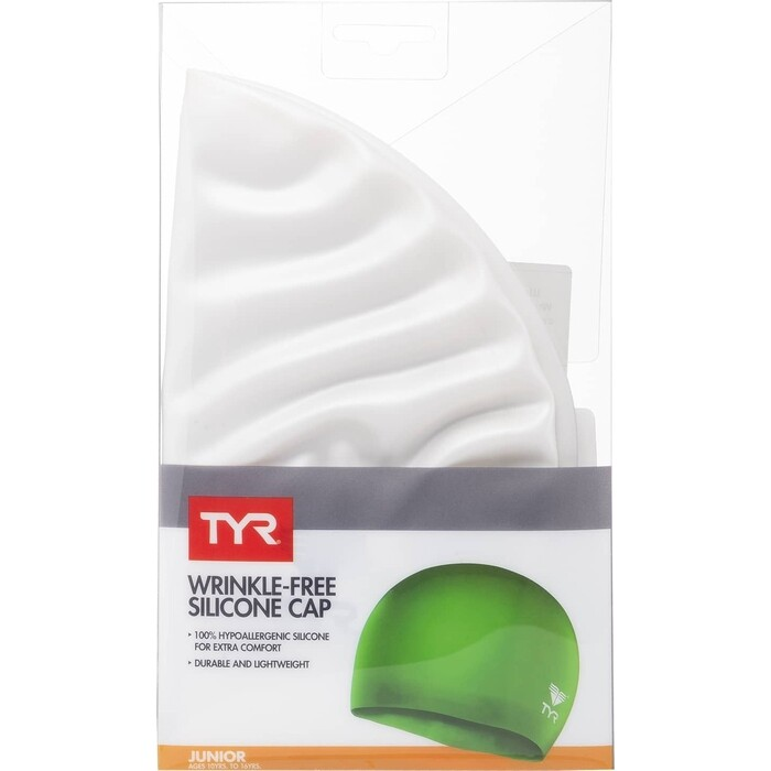 Шапочка для плавания TYR Wrinkle Free Junior Silicone Cap, силикон, белый (LCSJR/100)