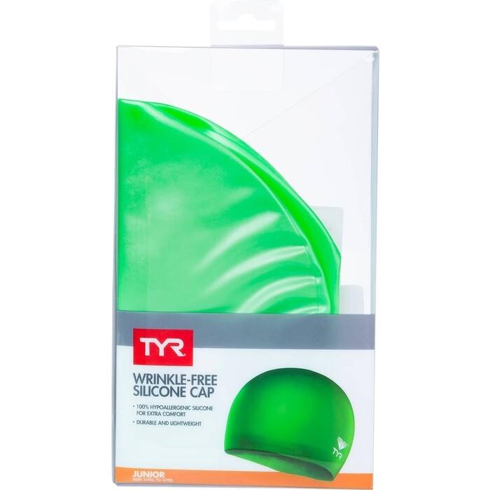 Шапочка для плавания TYR Wrinkle Free Junior Silicone Cap, силикон, зеленый (LCSJR/326)