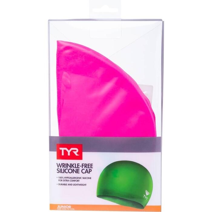 Шапочка для плавания TYR Wrinkle Free Junior Silicone Cap, силикон, розовый (LCSJR/693)
