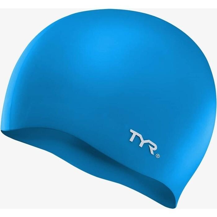 Шапочка для плавания TYR Wrinkle Free Silicone Cap, силикон, голубой (LCS/420)