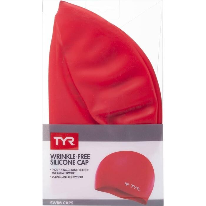 Шапочка для плавания TYR Wrinkle Free Silicone Cap, силикон, красный (LCS/610)