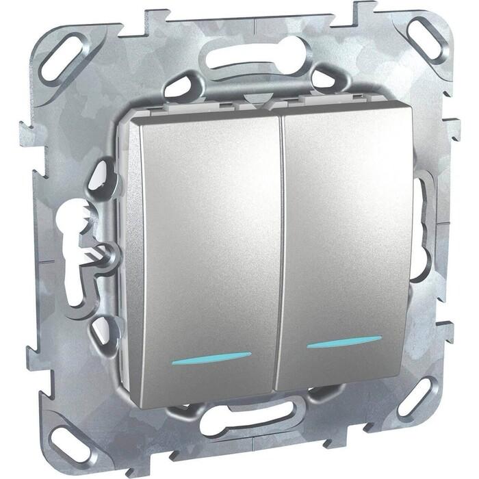 Выключатель Schneider Electric двухклавишный с подсветкой Unica MGU5.0101.30NZD