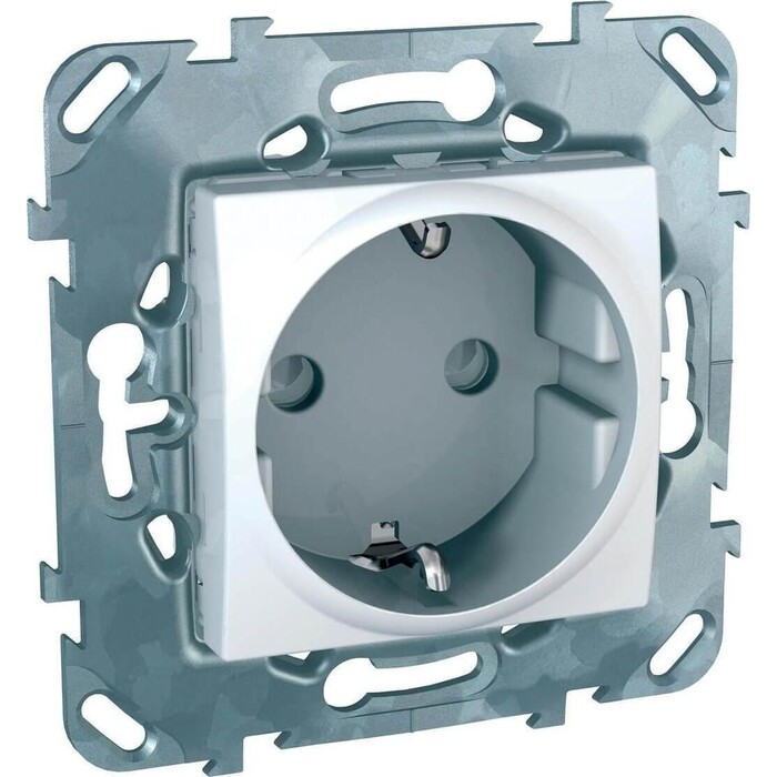 Розетка Schneider Electric Unica с/з со шторками б/зажим клеммы 16A 250V MGU5.057.18ZD