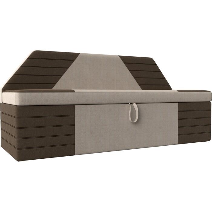 АртМебель Кухонный прямой диван Дуглас рогожка бежевый коричневый