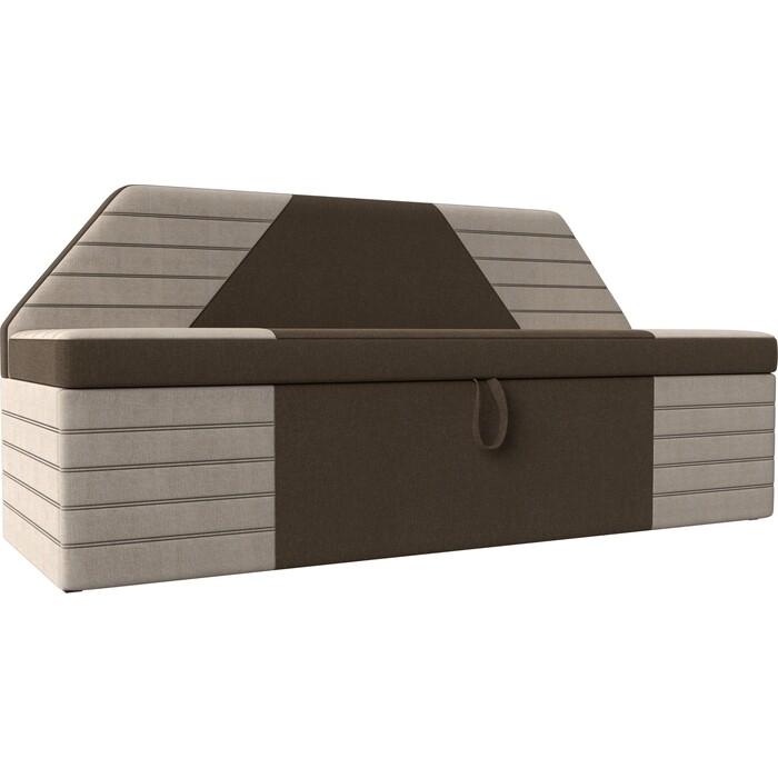 АртМебель Кухонный прямой диван Дуглас рогожка коричневый бежевый