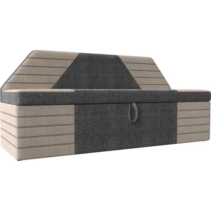 АртМебель Кухонный прямой диван Дуглас рогожка серый бежевый