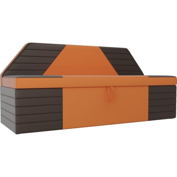 Фото - АртМебель Кухонный прямой диван Дуглас экокожа оранжевый коричневый прямой диван артмебель валенсия экокожа коричневый книжка