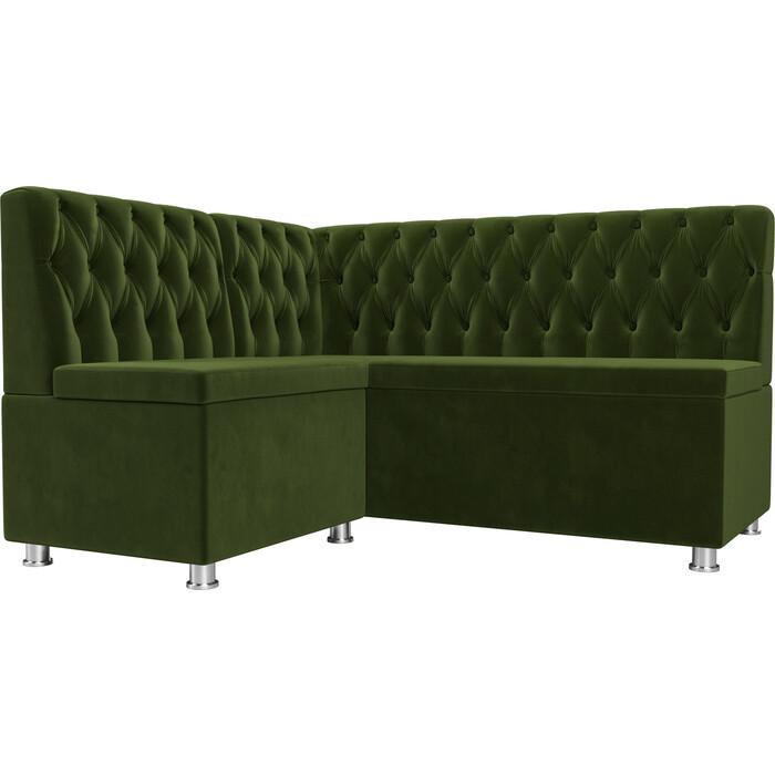 Кухонный угловой диван АртМебель Мирта микровельвет зеленый левый угол кухонный угловой диван артмебель салвадор микровельвет бежево зеленый левый угол