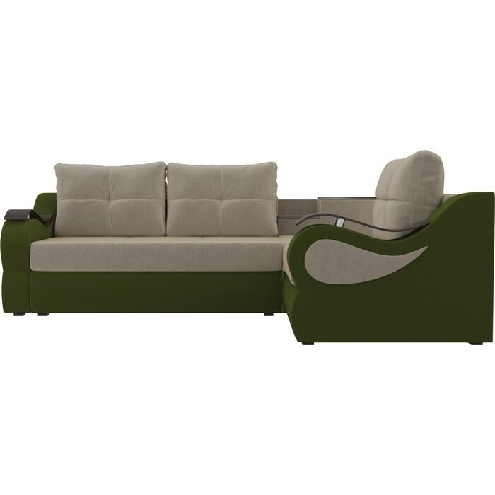 Угловой диван АртМебель Митчелл микровельвет бежевый зеленый правый угол диван угловой артмебель леос микровельвет бежевый правый угол