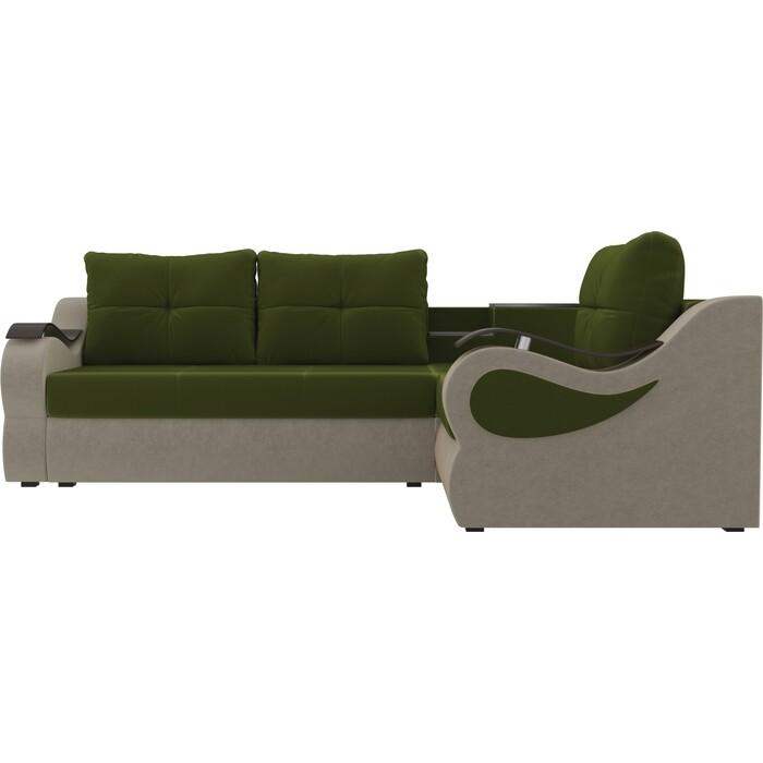 Угловой диван АртМебель Митчелл микровельвет зеленый бежевый правый угол диван угловой артмебель леос микровельвет бежевый правый угол