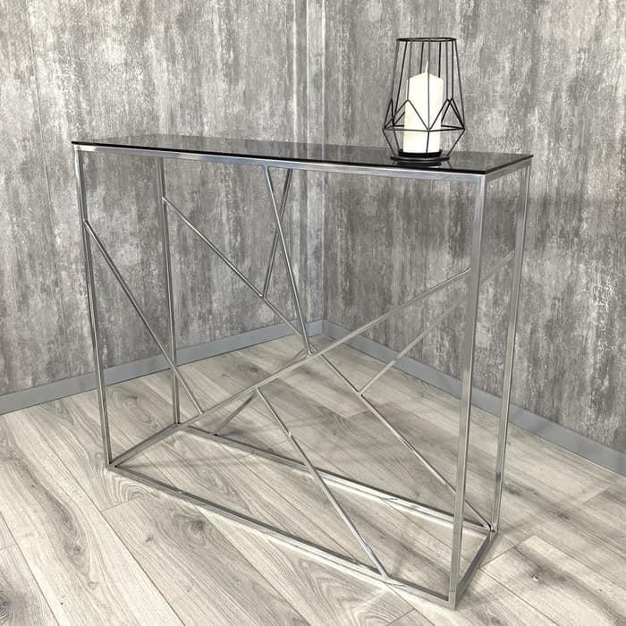 Напольная консоль Akur Loft Rio металлокаркас хромированный тонированное стекло