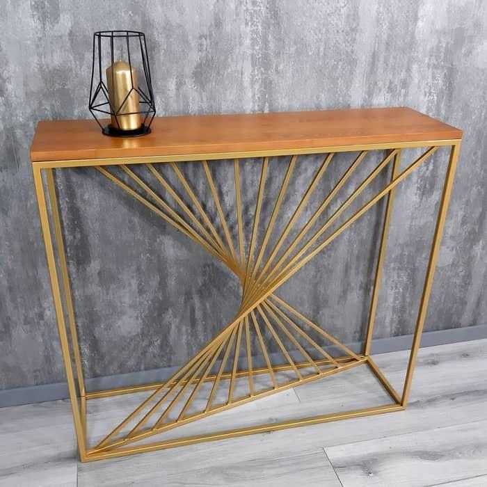 Напольная консоль Akur Loft Sidney металлокаркас золото декор ольха