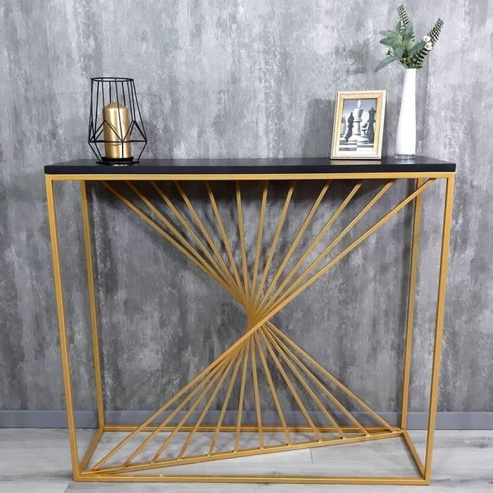 Напольная консоль Akur Loft Sidney металлокаркас золото декор черный