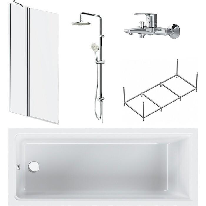 Акриловая ванна Am.Pm Gem 170x70 с каркасом, шторкой, душем и смесителем (W90ASET-170D3W5)