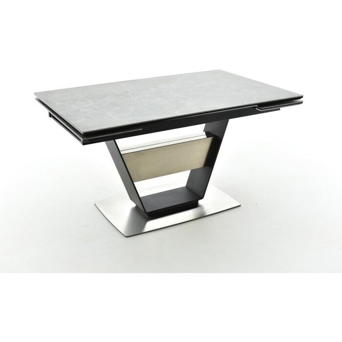 Стол Аврора Мальта 140 (204)x90x75 керамогранит bayona grey /каркас черный муар