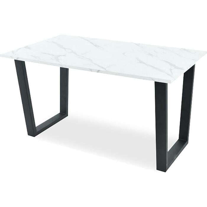 Стол Аврора Родос 140х80х75/пластик камень белый/каркас черный матовый муар