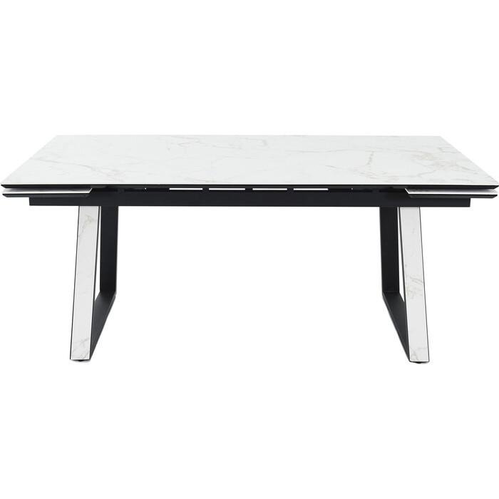 Стол Аврора Монако 180 (244)x95x75 керамогранит calacata vaglioro/ каркас черный матовый муар