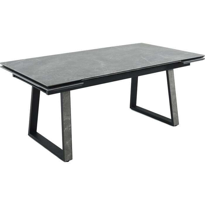 Стол Аврора Монако 180 (244)x95x75 керамогранит bayona grey/ каркас черный матовый муар