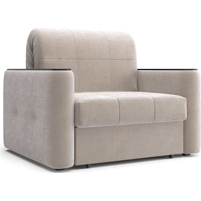 Кресло Агат Ницца 0.8 -Velutto 17 бежевый/накладка венге