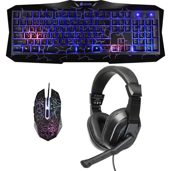 Комплект клавиатура, мышь и гарнитура Oklick HS-HKM100G IMPERIAL (клавиатура, мышь, гарнитура) черный (HS-HKM100G)