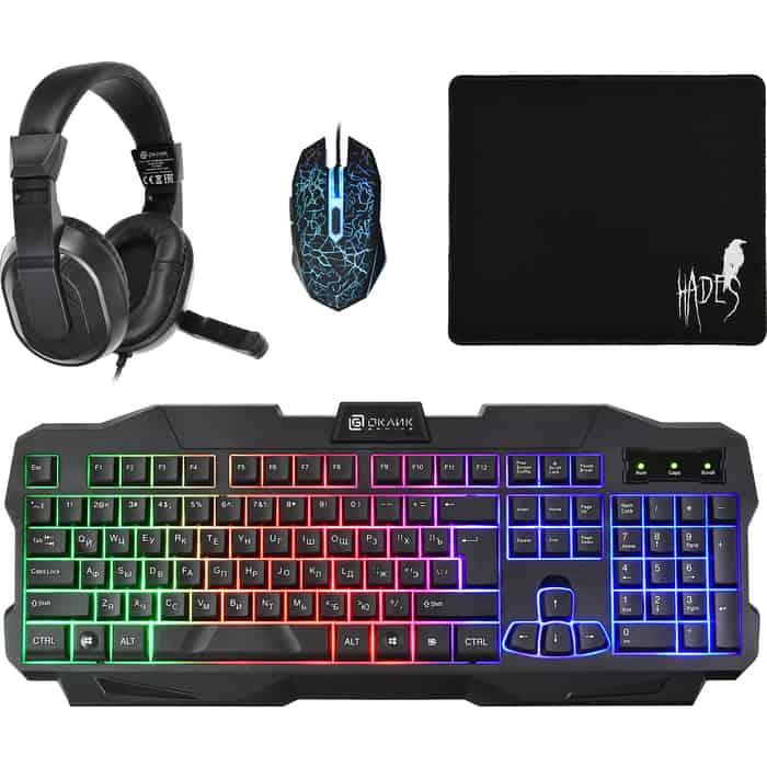 Комплект клавиатура, мышь, коврик и гарнитура Oklick HS-HKM200G HADES (клавиатура, для мыши, гарнитура) черный (HS-HKM200G)