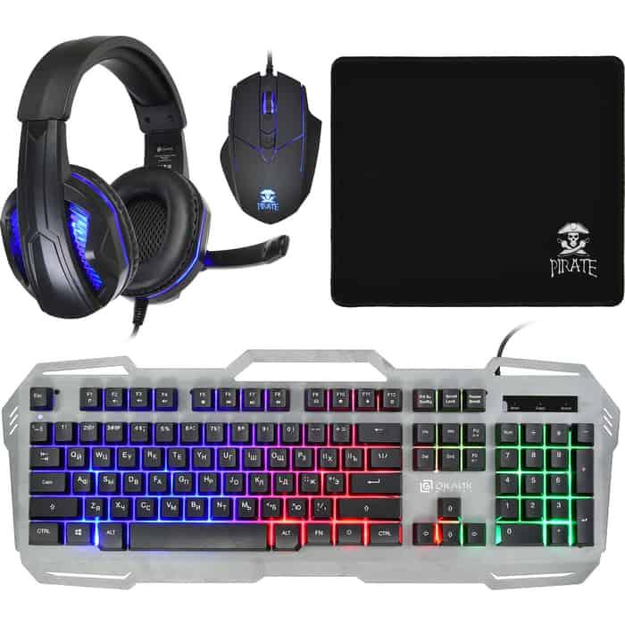 Комплект клавиатура, мышь, коврик и гарнитура Oklick HS-HKM300G PIRATE (клавиатура, для мыши, гарнитура) черный (HS-HKM300G)
