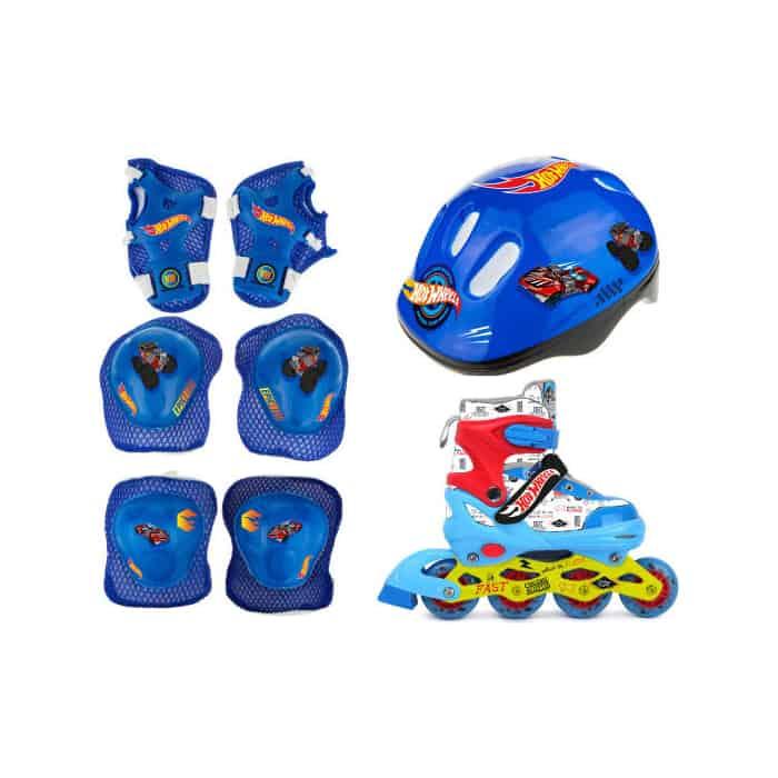 Роликовые коньки 1Toy Hot Wheels, PU колеса со светом, в комплекте с защитой и шлемом, M (34-37)