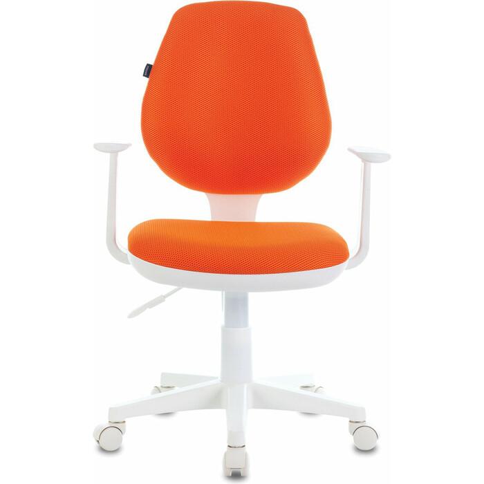 Кресло офисное Brabix Fancy MG-201W с подлокотниками, пластик белый оранжевое TW-96-1 532410