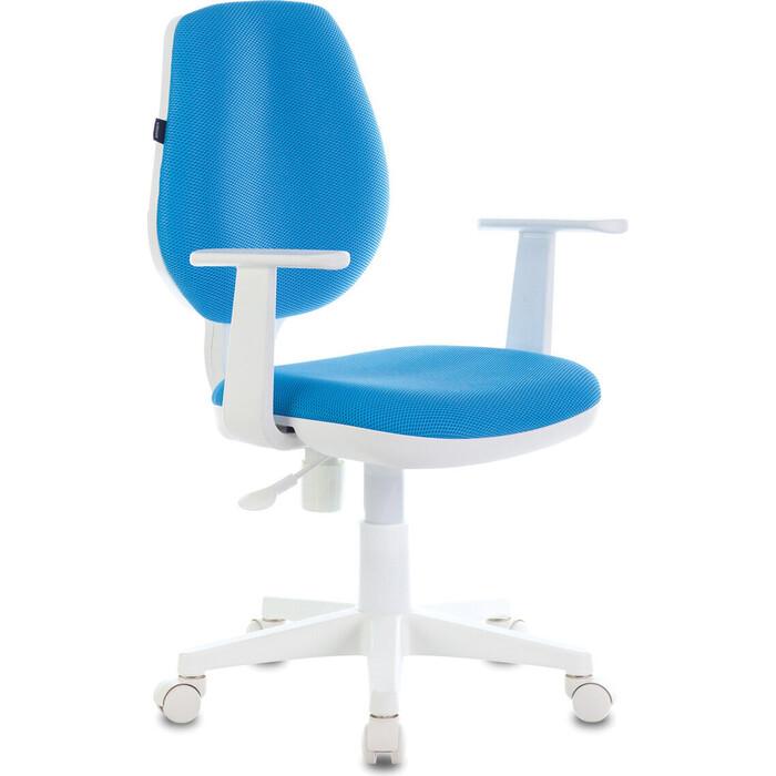 Кресло офисное Brabix Fancy MG-201W с подлокотниками, пластик белый голубое TW-55 532411