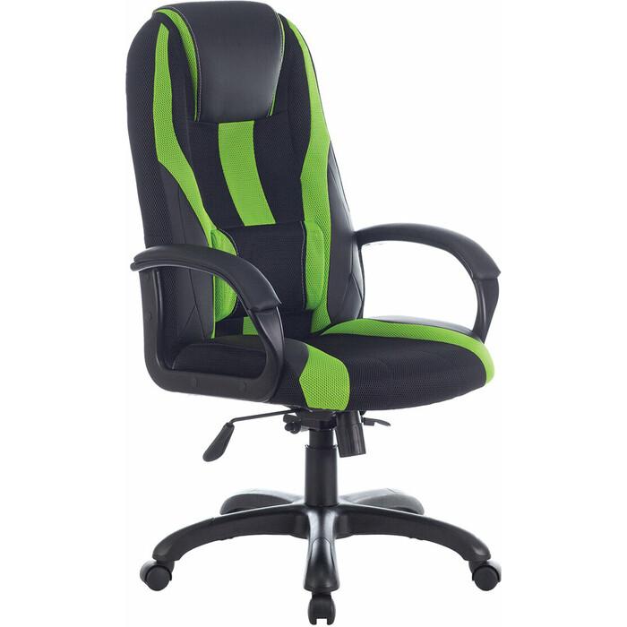Кресло компьютерное Brabix Premium Rapid GM-102 экокожа/ткань, черное/зеленое 532419 кресло компьютерное brabix premium rapid gm 102 нагрузка 180 кг экокожа ткань черное красное 532107