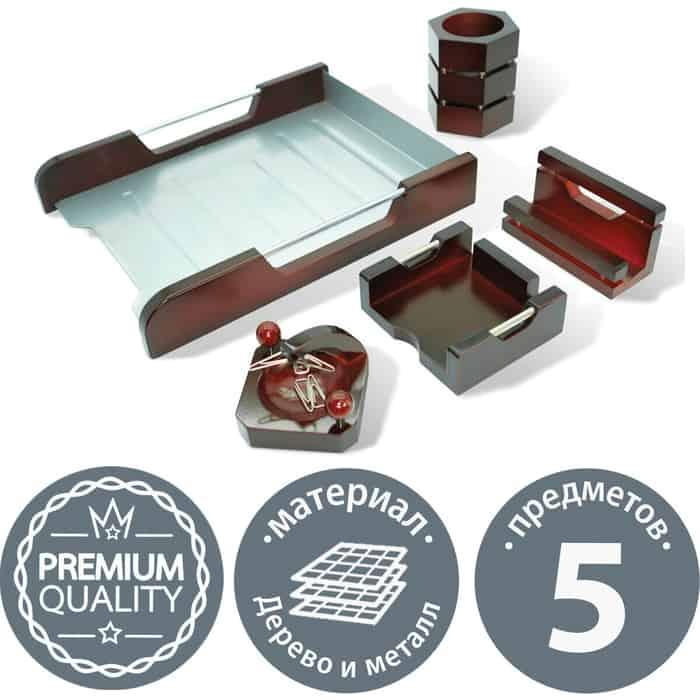 Настольный набор GALANT Wood&Metal, 5 предметов, красное дерево и никелированный металл, 230873