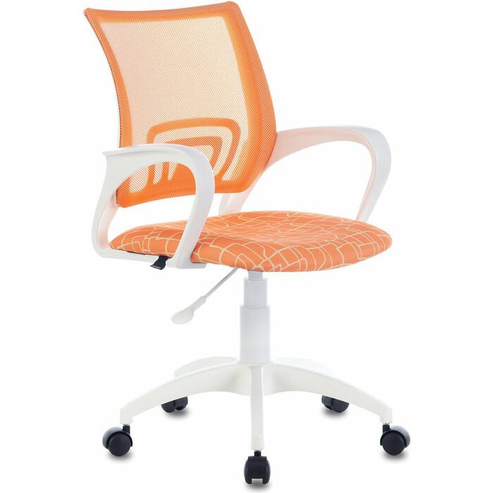 Кресло офисное Brabix Fly MG-396W с подлокотниками пластик белый сетка, оранжевое рисунком TW-38-3/Giraffe 532402