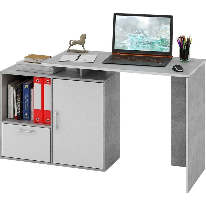 Стол письменный Мастер Слим-3, прямой/угловой бетон/белый МСТ-ССЛ-03-ЕО-БТ-16