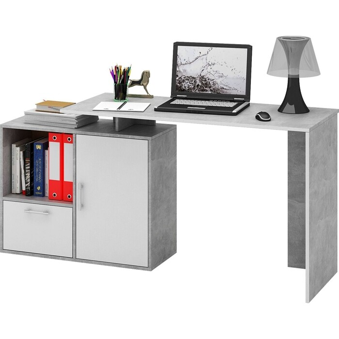 Стол письменный Мастер Слим-4, прямой/угловой бетон/белый МСТ-ССЛ-04-ЕО-БТ-16
