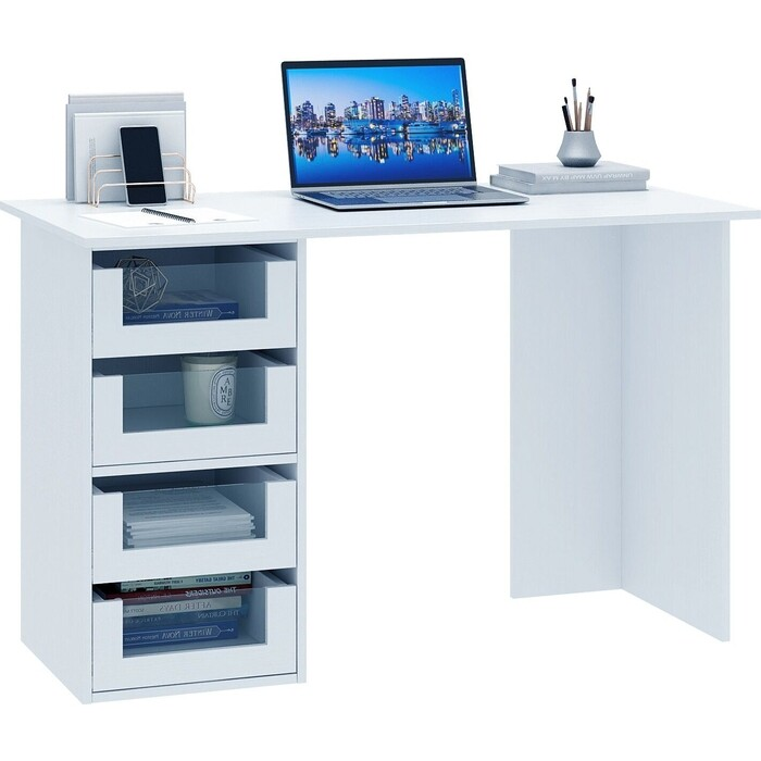 Стол компьютерный Мастер Прайм-42 белый СТЛ-Прайм-42-БТ