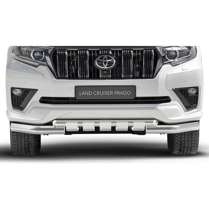 Защита переднего бампера d76+d57 с профильной защитой картера Rival для Toyota Land Cruiser Prado 150 рестайлинг (Black Onyx) (2020-н.в.), нерж. сталь, R.5726.001