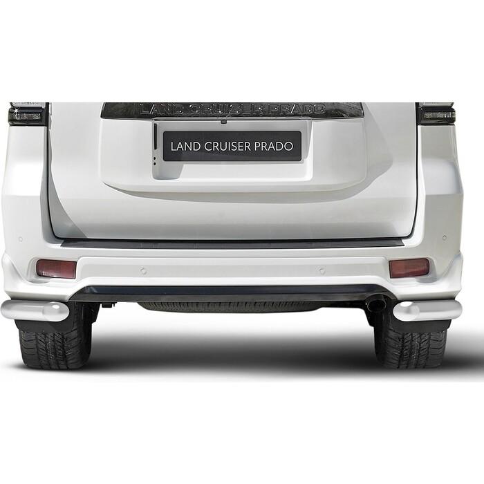 Защита заднего бампера d76 уголки Rival для Toyota Land Cruiser Prado 150 рестайлинг (Black Onyx) (2020-н.в.), нерж. сталь, 2 части, R.5726.002