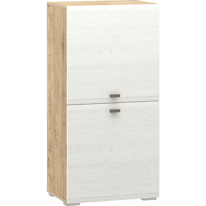 Шкаф комбинированный Сильва НМ 011.43 Snow wood белое дерево (ПВХ) 1 кат., дуб бунратти