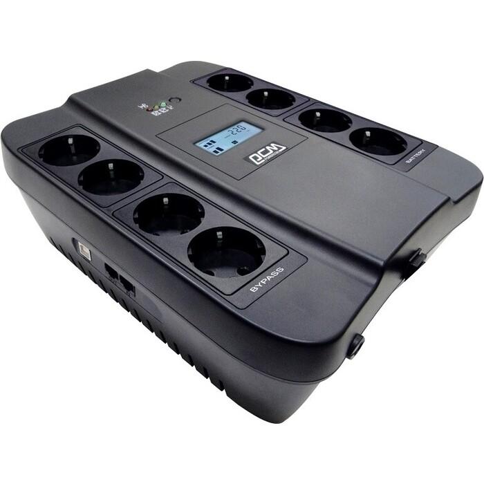 ИБП PowerCom Spider SPD-750U 750ВА 450Вт 4+4xEURO USB RJ11/RJ45 LCD черный (SPD-750U)