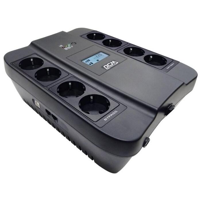 ИБП PowerCom Spider SPD-900U 900ВА 540Вт 4+4xEURO USB RJ11/RJ45 LCD черный (SPD-900U)