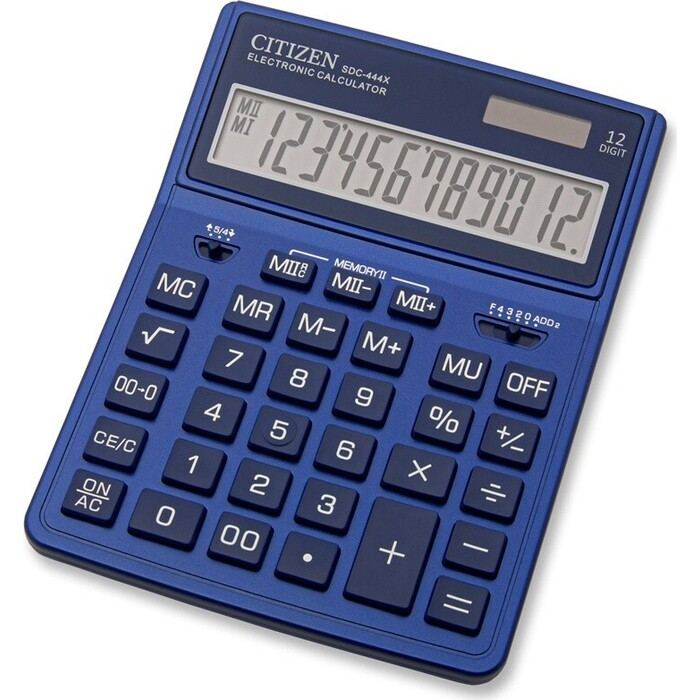Калькулятор бухгалтерский Citizen SDC-444XRNVE темно-синий 12-разр.